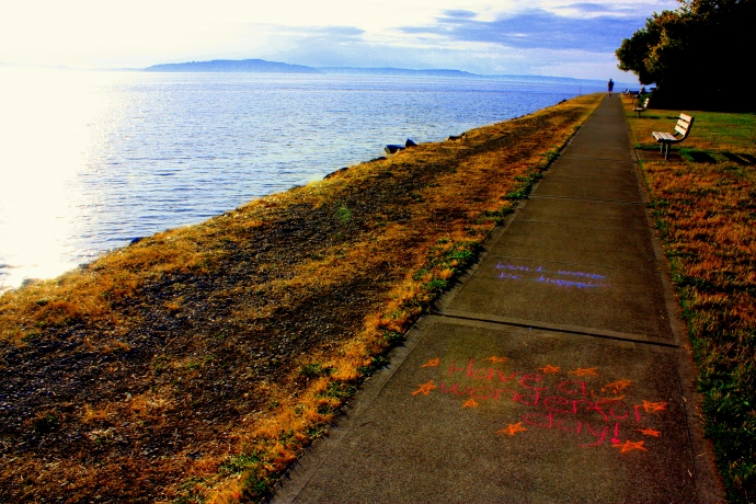 West Seattle waterfront: spaces for pedestrians, bikes and sunshine attitudes...