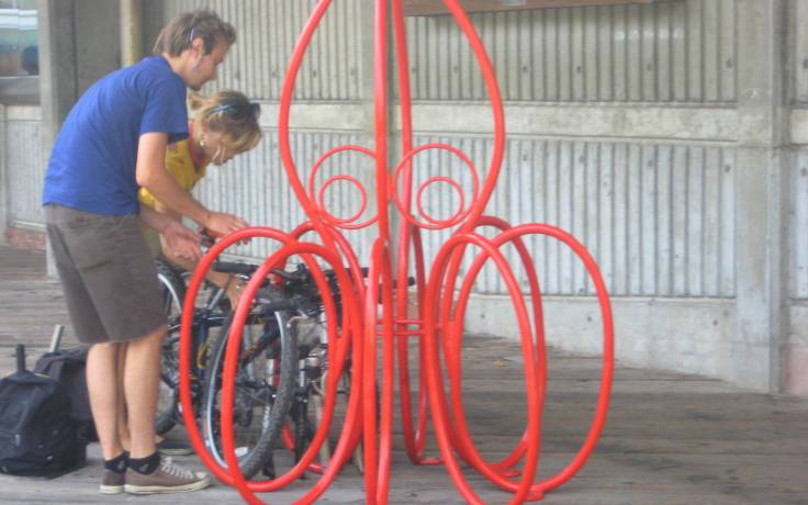 Funky bike parking for the city's growing cyclist population (downtown waterfront)