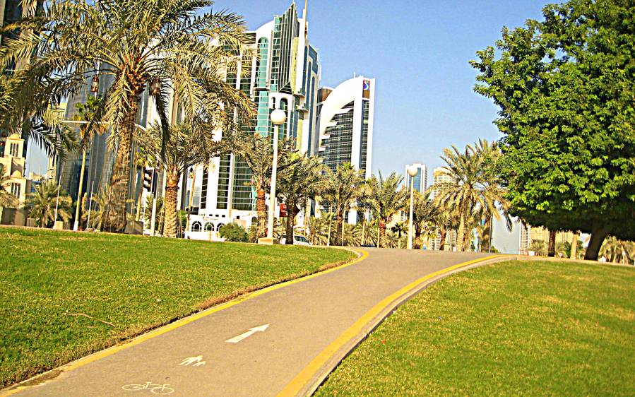 Doha's West Bay Business District, bike lanes included. But where are the cyclists?