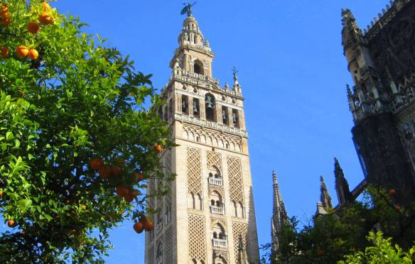 Built in the late 1100s, the Giralda is the bell tower of the Cathedral of Seville and it once stood as the minaret at the then mosque.Sevilla Cathedral is the largest Gothic cathedral and the fourth-largest church in the world.