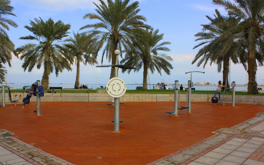 Along the Corniche Bay exists public outdoor excersise equipment