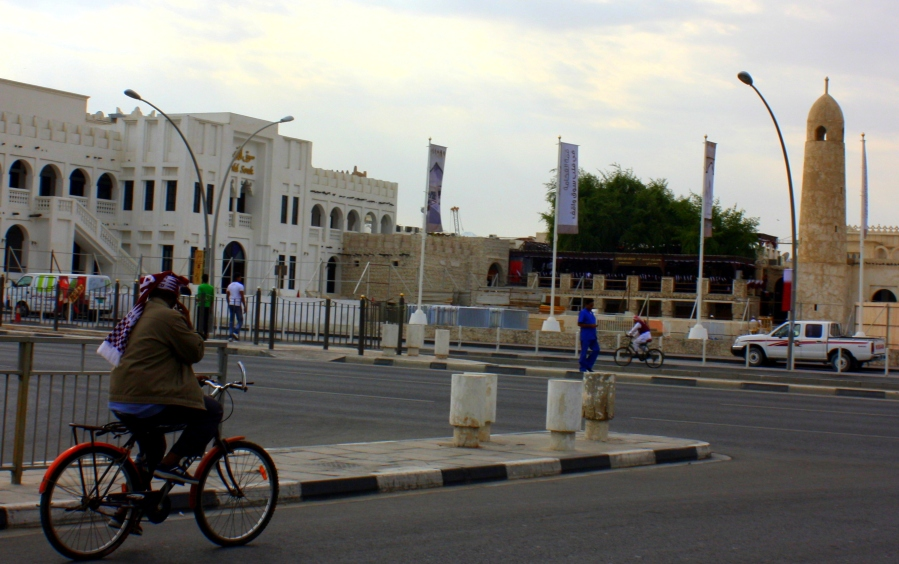 Cyclists spotted, near the Souq Waqif