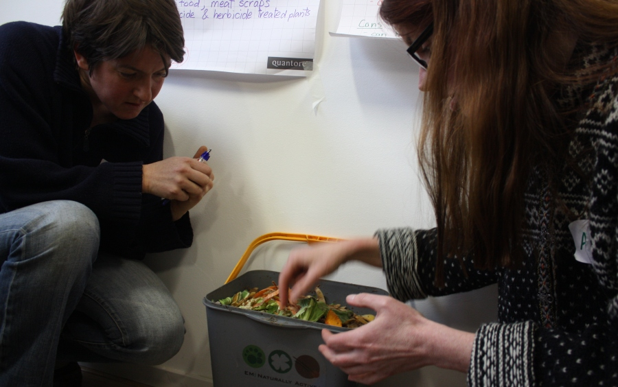 Learning about Bokashi. It's an anaerobic system that you can throw all your food waste into (including meat), fill it to the top, press it down and between these layers add a layer of EM (effective microorganisms). When it is full, leave it for 3 weeks (and be sure to keep it closed because it stinks.) Then, bury it – either all together or for the balcony gardener, in 'plugs.' Presto, lovely fresh compost: it finishes composting in the soil.