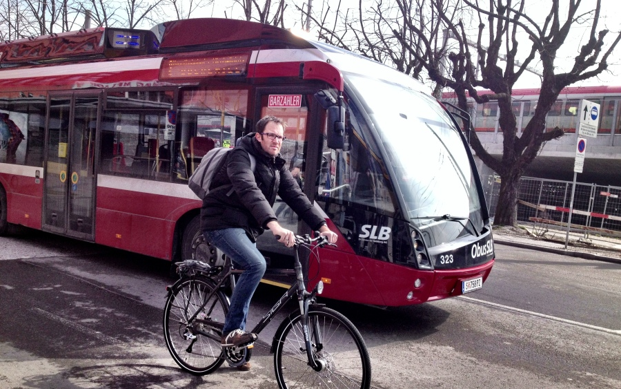 Is it a bus? Is it a train? Or is it a bus-train? Either way, Salzburg's buses run on electricity
