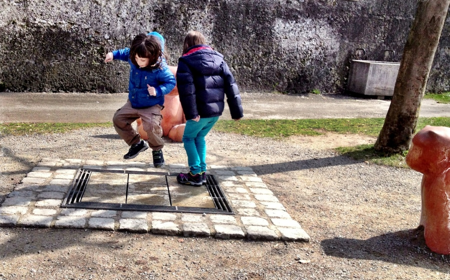 This was great: a musical board that children can jump around on to play a tune - definetly a Mozart-inspired city!