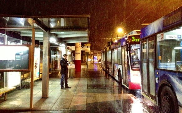 Weather-proof waiting: Weather is unpredicable in this mountain city... so bus shelters have wide roofs to provide plenty of shelter for waiting passengers