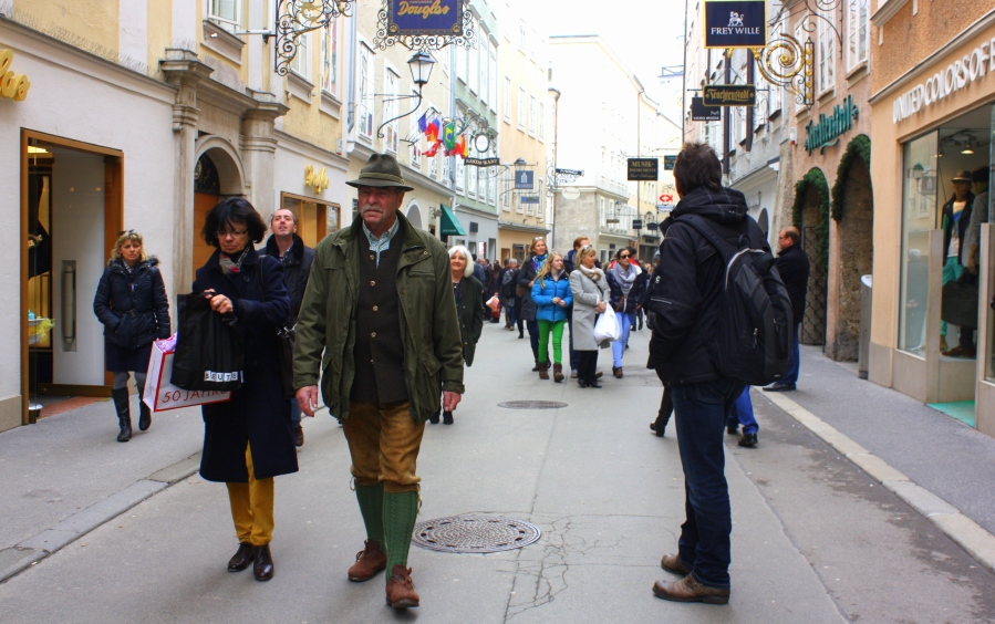 Traditional clothes are proudly worn around Easter time - spotted in many of Salzburg's public market squares and walking streets