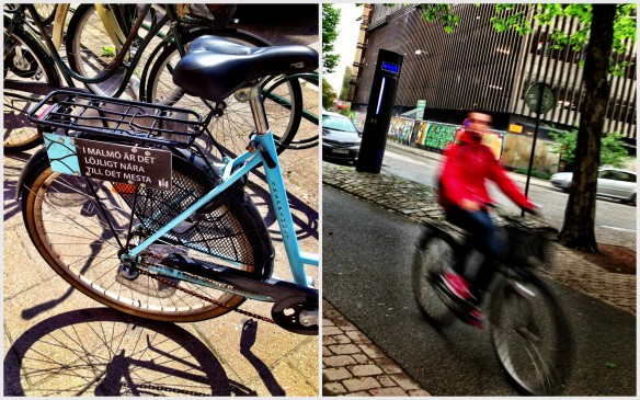 "Malmö cycling strategies: On the back of the blue bike it states ""it's ridiculous close to most things in Malmö."" In the other photo, a cyclist passes a bicycle counter."