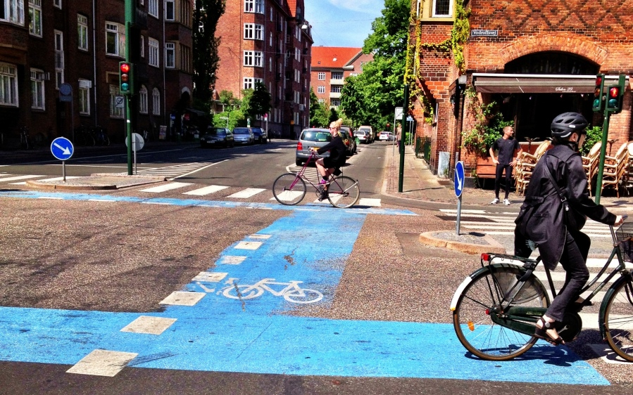 Copenhagen: intersections are cleary marked for cyclists