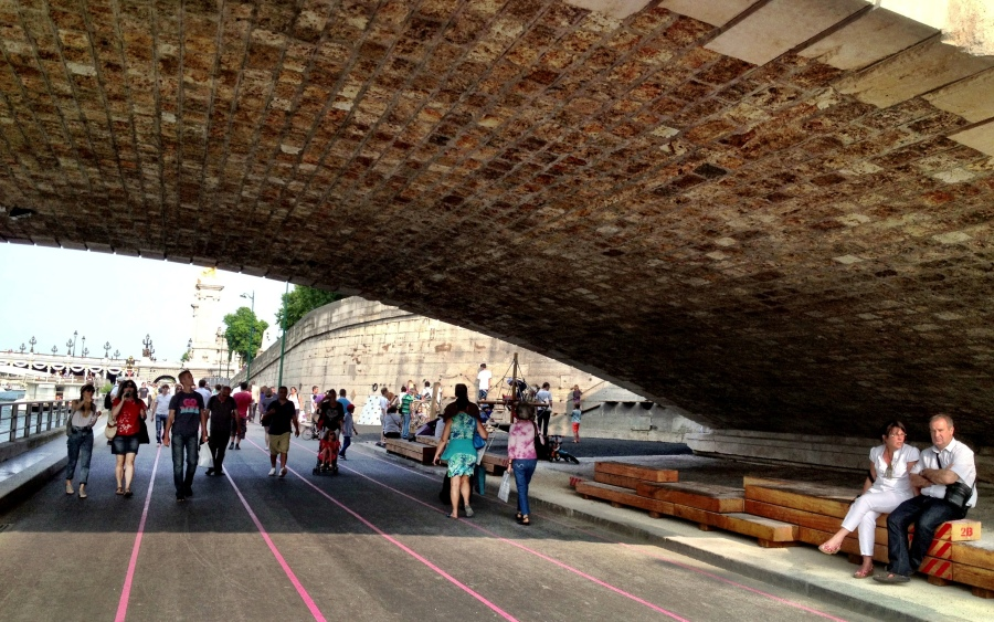 Les Berges spans an area covered by six bridges, providing a bit of shade for the warmer days. We also experienced sound installations under some of them.