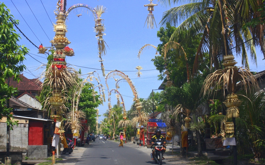 In the villages of Bali, roads are narrow... but still cars, oversized tourist buses and motorcycles race down them, daring to take over the other given the chance