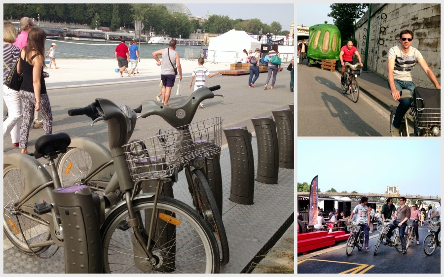 The Velib bike system can also be found along the pedestrian/ cycling zone, with many bicycles in use!